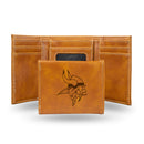 VIKINGS BROWN FAUX LEATHER LASER ENGRAVED TRIFOLD WITH BLACK LOGO