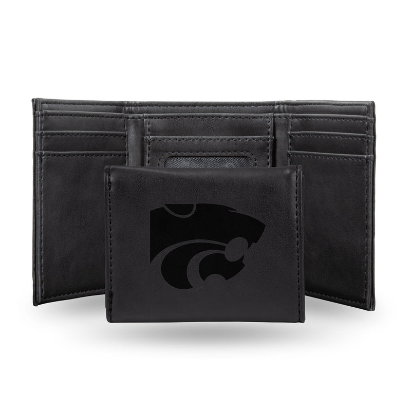 KANSAS STATE UNIVERSITY LASER ENGRAVED BLACK TRIFOLD WALLET