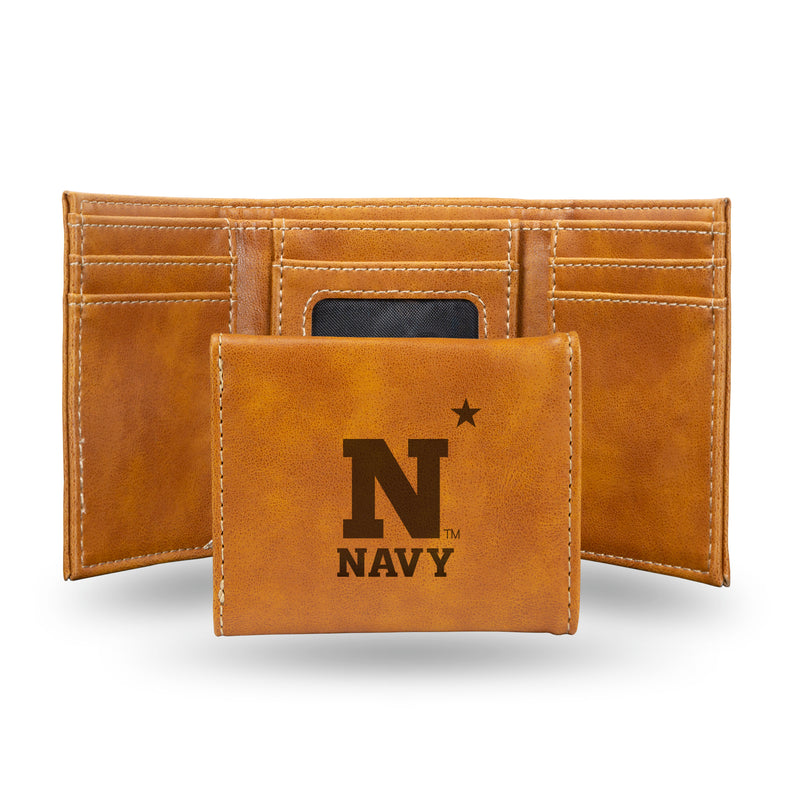 US NAVAL ACADEMY LASER ENGRAVED TRIFOLD WALLET - BROWN