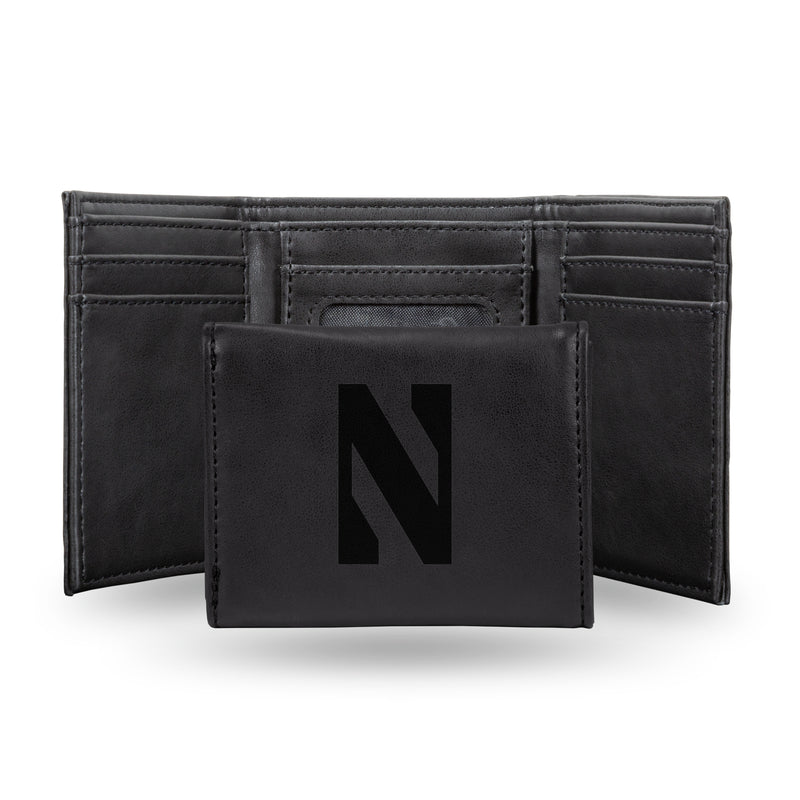 NORTHWESTERN LASER ENGRAVED BLACK TRIFOLD WALLET