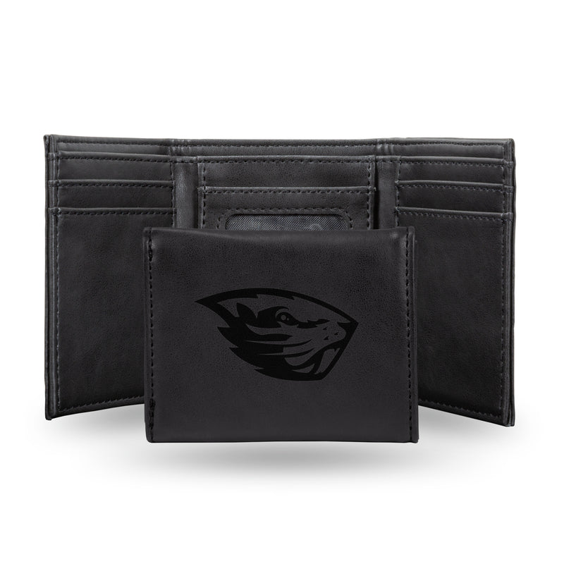 OREGON STATE LASER ENGRAVED BLACK TRIFOLD WALLET