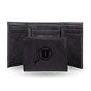 UTAH UNIVERSITY LASER ENGRAVED BLACK TRIFOLD WALLET