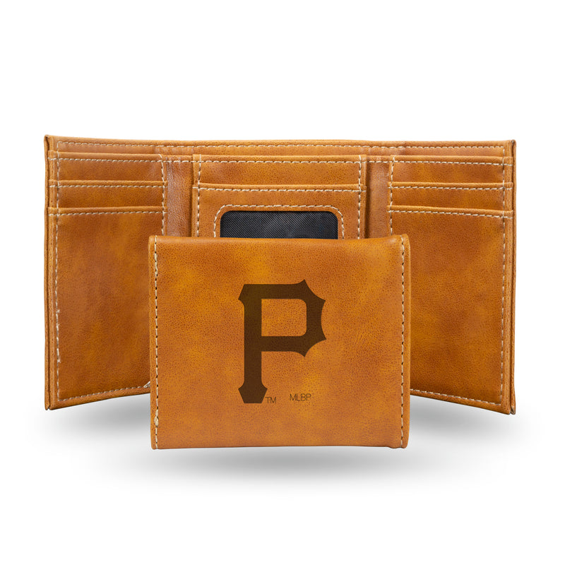 PIRATES LASER ENGRAVED BROWN TRIFOLD WALLET