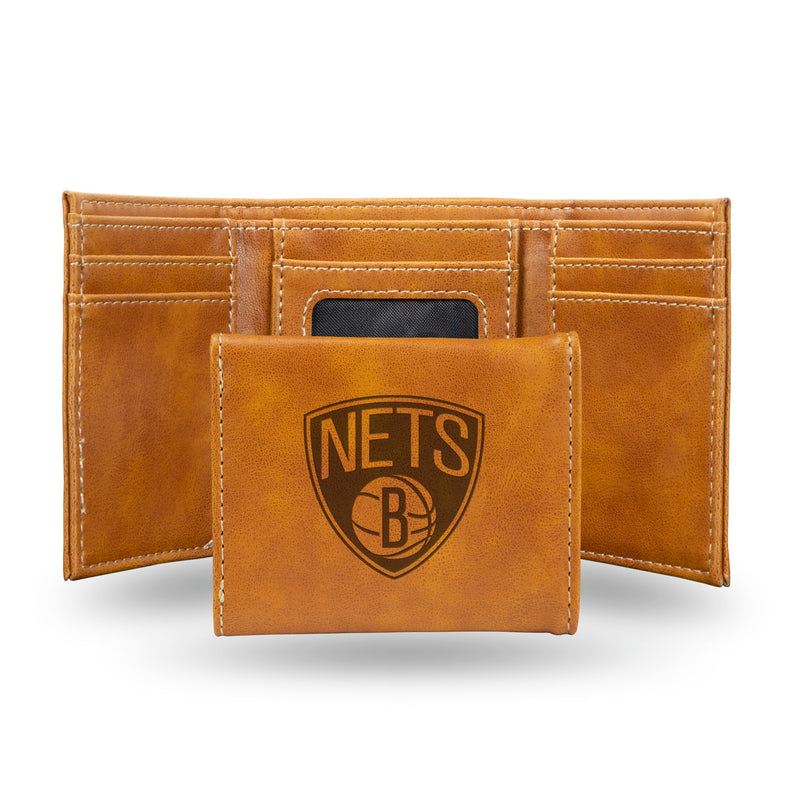 NETS LASER ENGRAVED BROWN TRIFOLD WALLET