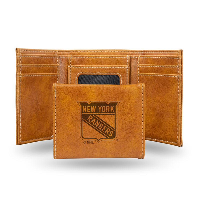 RANGERS - NY  LASER ENGRAVED BROWN TRIFOLD WALLET