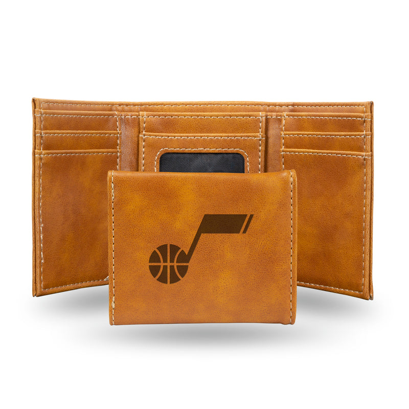JAZZ LASER ENGRAVED BROWN TRIFOLD WALLET