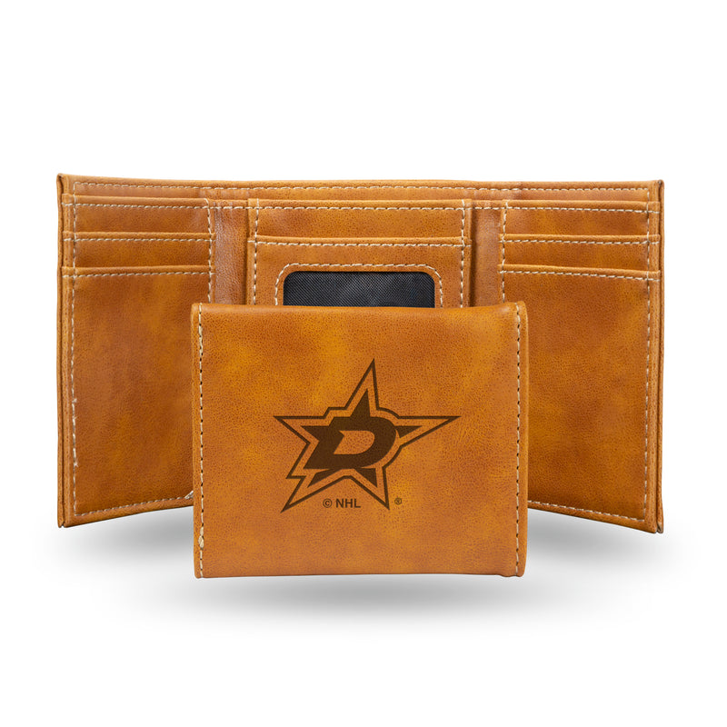 STARS  LASER ENGRAVED BROWN TRIFOLD WALLET