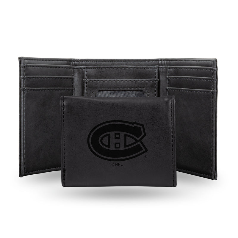 CANADIENS  LASER ENGRAVED BLACK TRIFOLD WALLET