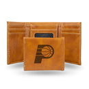 PACERS LASER ENGRAVED BROWN TRIFOLD WALLET