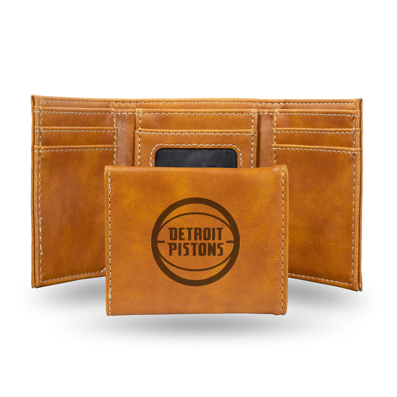 PISTONS LASER ENGRAVED BROWN TRIFOLD WALLET