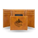 CANUCKS  LASER ENGRAVED BROWN TRIFOLD WALLET