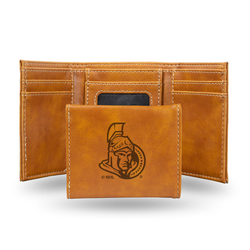 SENATORS  LASER ENGRAVED BROWN TRIFOLD WALLET