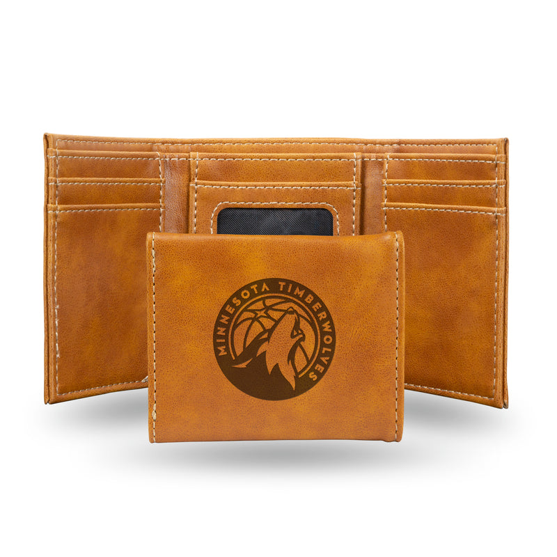 TIMBERWOLVES LASER ENGRAVED BROWN TRIFOLD WALLET