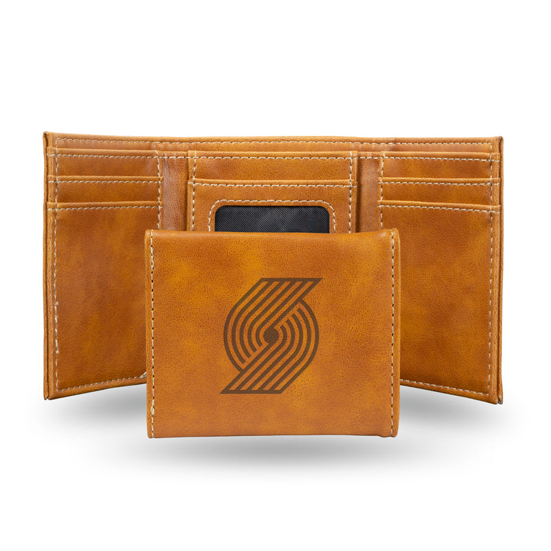 TRAIL BLAZERS LASER ENGRAVED BROWN TRIFOLD WALLET