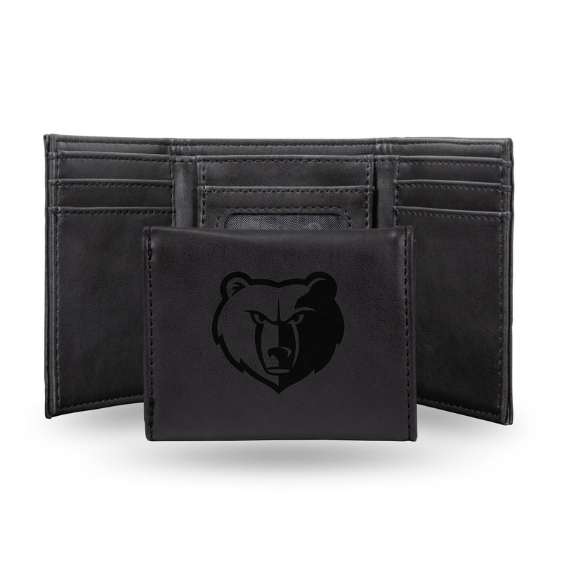 GRIZZLIES LASER ENGRAVED BLACK TRIFOLD WALLET