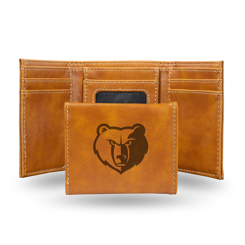 GRIZZLIES LASER ENGRAVED BROWN TRIFOLD WALLET