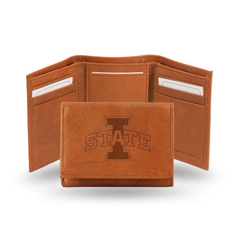 IOWA STATE EMBOSSED LEATHER TRIFOLD