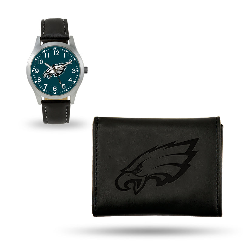 EAGLES SPARO BLACK WATCH AND WALLET GIFT SET