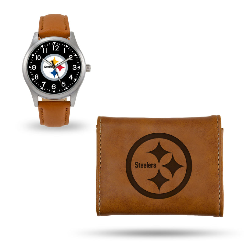 STEELERS SPARO BROWN WATCH AND WALLET GIFT SET