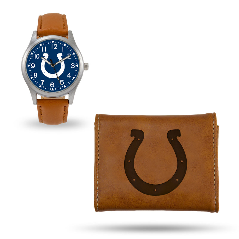COLTS SPARO BROWN WATCH AND WALLET GIFT SET