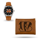 BENGALS SPARO BROWN WATCH AND WALLET GIFT SET