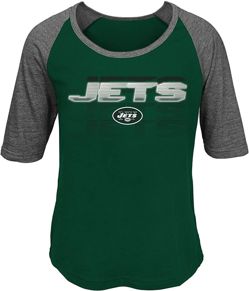 "Outerstuff NFL Girls 7-16""Differaction Short Sleeve Tee-Hunter-XL, New York Jets"