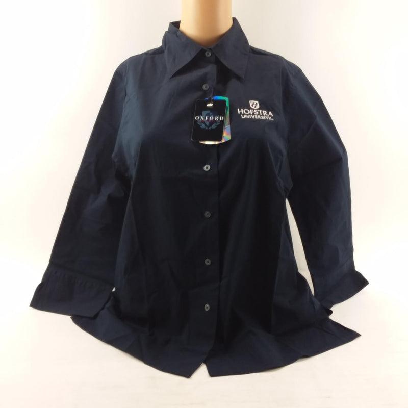 Oxford Hofstra University Women's Navy Button Long Sleeve Down Shirt Size Small