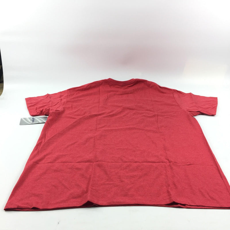 NWT Men's Asics Red (24) The Run Ends The Road Never Does Design Shirt Size 2XL