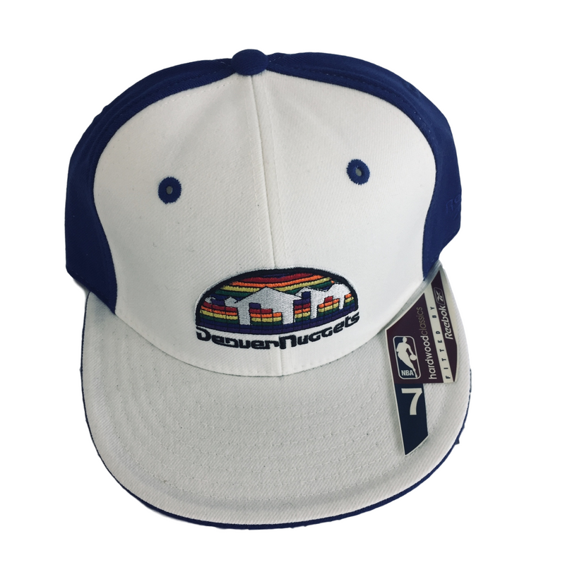 NWT NBA Reebok Denver Nuggets White & Blue w/Rainbow Sports Fitted Hat Size 7""