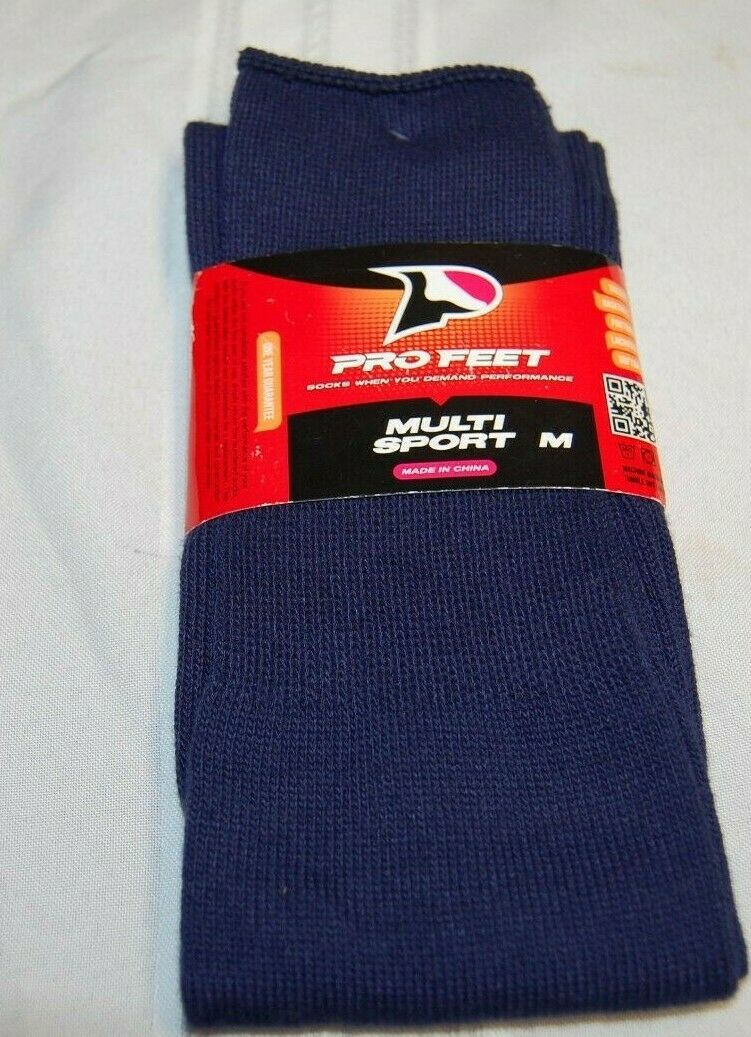 NWT New Pro Feet Multi Sports Unisex Blue Socks Size M MADE IN USA!!