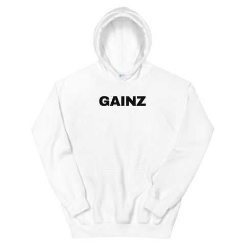 funny workout hoodies - white gainz
