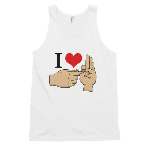 funny offensive tank tops - white I Love Sex Hand Gesture v2
