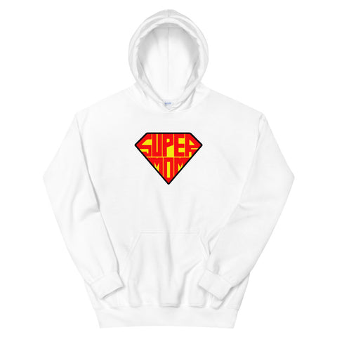 funny mom hoodies - white super mom