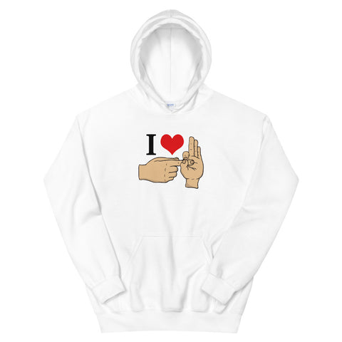 funny offensive hoodies - white I Love Sex Hand Gesture V2