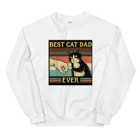 funny cat sweatshirts - white Best Cat Dad Ever V2