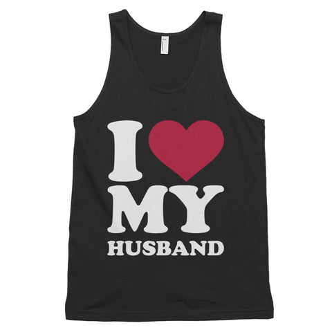 funny dad tank tops - black I Love My Husband