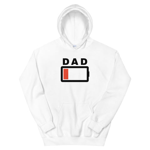 funny dad hoodies - white Dad Battery Charge Low