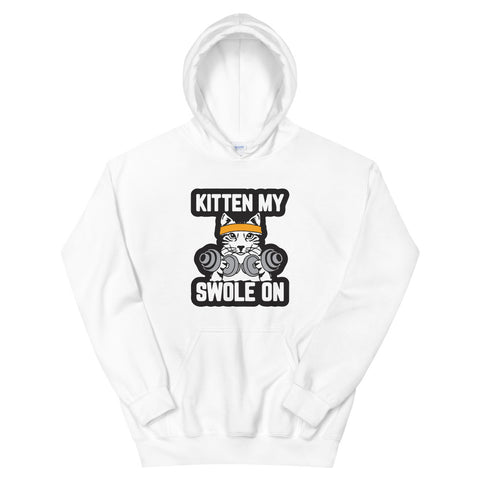 funny cat hoodies - white Kitten My Swole On