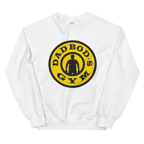 funny dad sweatshirts - white Dad Bod's Gym, Gold's Gym Parody