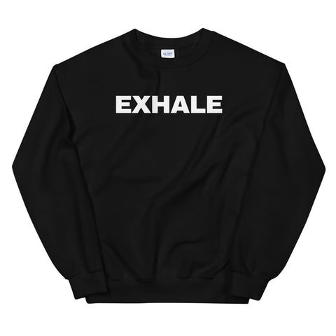 funny yoga sweatshirts - black exhale