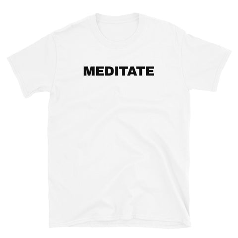 funny yoga t-shirts - white meditate