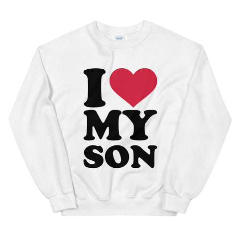 funny mom sweatshirts - white i love my son