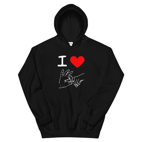funny offensive hoodies - black I Love Sex Hand Gesture