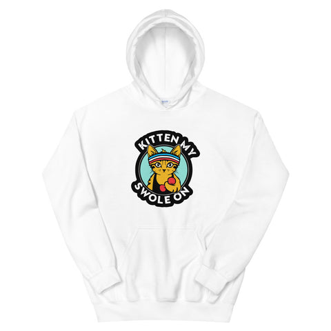 funny cat hoodies - white Kitten My Swole On V2