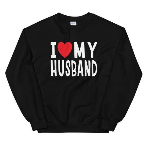 funny dad sweatshirts - black I Love My Husband V2