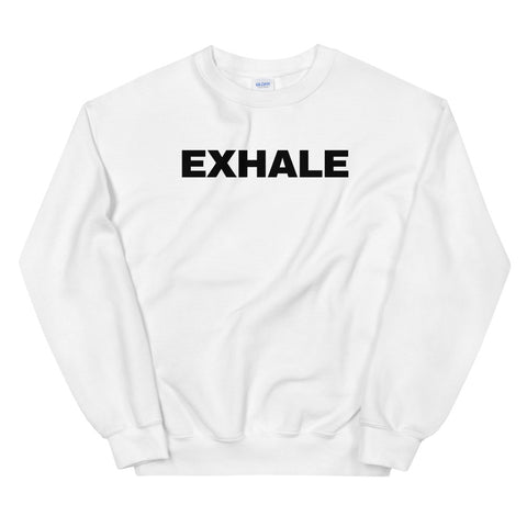 funny yoga sweatshirts - white exhale