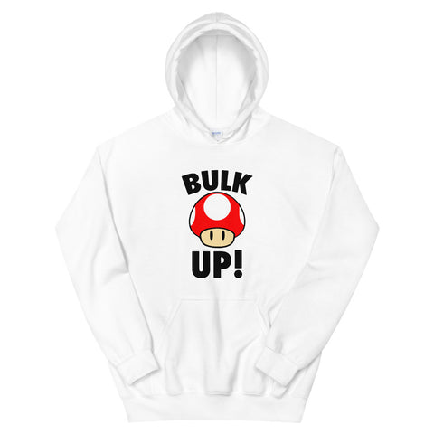 funny workout hoodies - white Bulk Up Mushroom Super Mario Power Up Parody