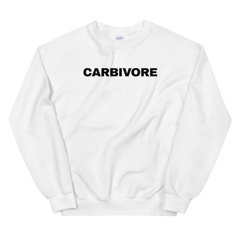 funny workout sweatshirts - white carbivore