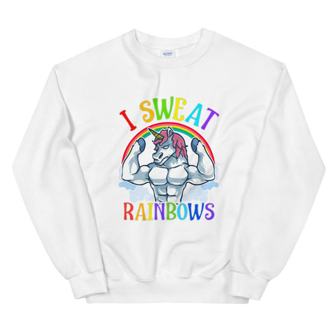 funny workout sweatshirts - white Buff Unicorn I Sweat Rainbows