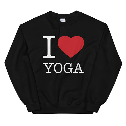 funny yoga sweatshirts - black I Love Yoga